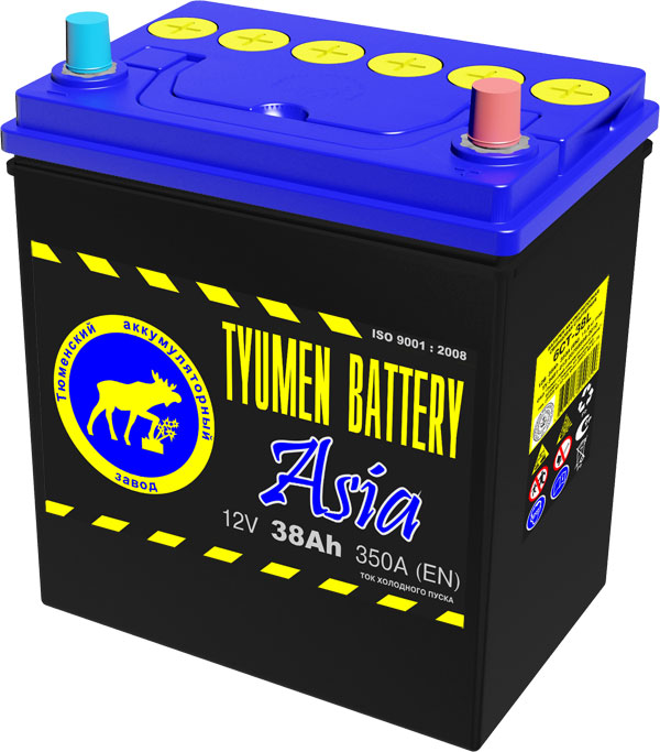 Аккумулятор TYUMEN BATTERY ASIA 6СТ-38L пп 38 Ач 360 А 187x128x223 [В19]